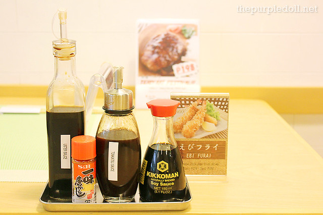 Condiments at Arafu Cafe