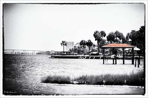 B&W image of the ICW at Ormond Beach using Nik's Silver Efex Pro plug-in