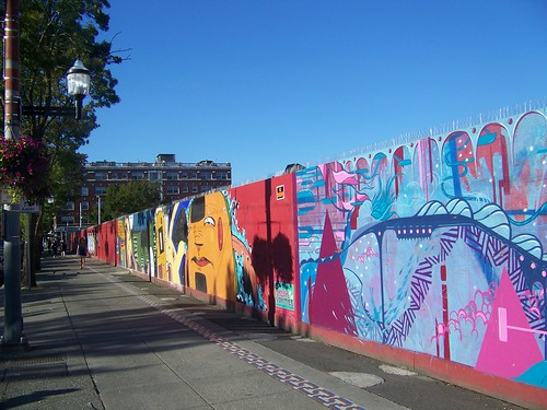 Murals on construction walls, Capitol Hill Station site, Sound Transit light rail, Seattle