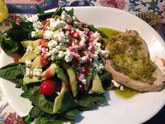 Swordfish with pesto and salad. Tasted so good, even licked the platter clean.
