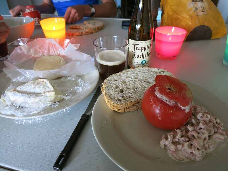 Tomatoes stuffed with gray shrimp, cheese and Belgian beer for dinner.