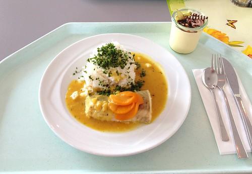 Seelachs im Pfirsich-Ingwer-Sud / Coalfish in peach ginger sauce