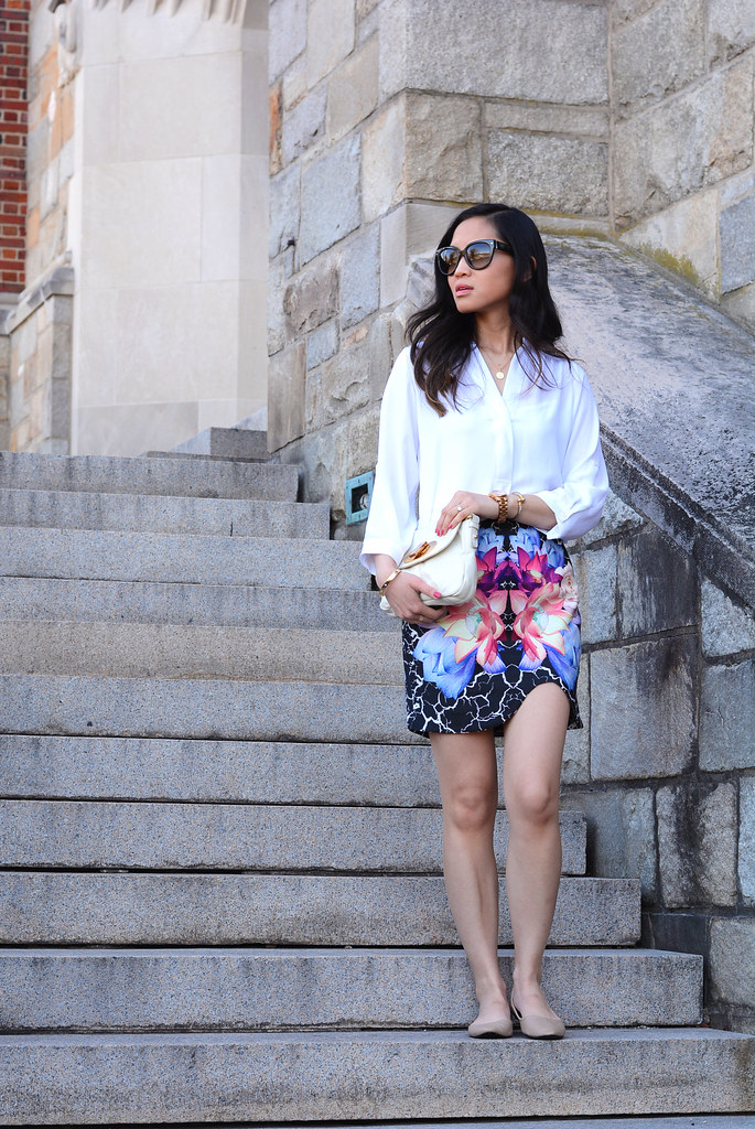 Tobi Into the Night mirrored floral skirt spring outfit