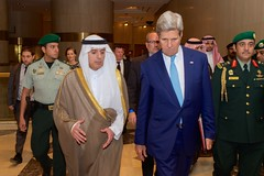 U.S. Secretary of State John Kerry walks with Adel Al-Jubeir, the newly named Saudi Foreign Minister, upon arriving at the Saudi Ministry of Interior in Riyadh, Saudi Arabia, on May 6, 2015, for a meeting and working dinner with Crown Prime Mohammed bin Nayef.  [State Department photo/ Public Domain]