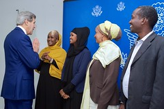 U.S. Secretary of State John Kerry meets four representatives of Somali civil society - Fartuun Adan, Ilwad Elman, Zainab Hassan, Mohamed Ibrahim - after arriving in Mogadishu, Somalia, on May 6, 2015, for a series of meetings with them, Somali President Hassan Sheikh Mohamud, Prime Minister Omar Abdirashid Ali Sharmarke, Somali regional leaders, and U.S. Special Representative for Somalia James McAnulty. [State Department Photo/Public Domain]