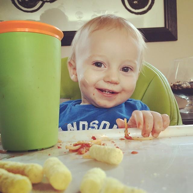 Mmmm! Veggie crunches, spaghetti, yogurt and juice. @bartlekid is in heaven by bartle_man