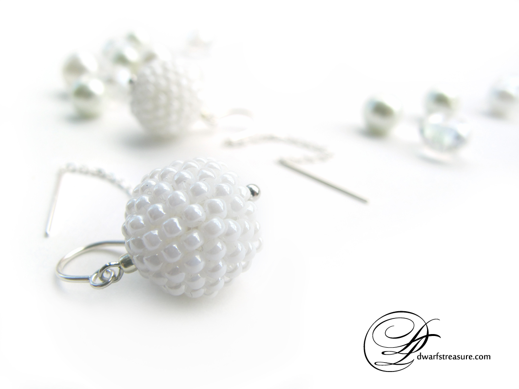 fancy white beaded ball drop sterling silver earrings
