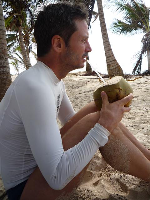 Kurt Drinking Coconut Water