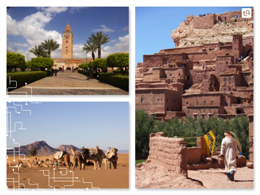 Marrocos, Mesquita Kutubia em Marrakesh, visita a Ouarzazate, a caminho do Sahara e passeio de camelo na entrada do deserto do Sahara