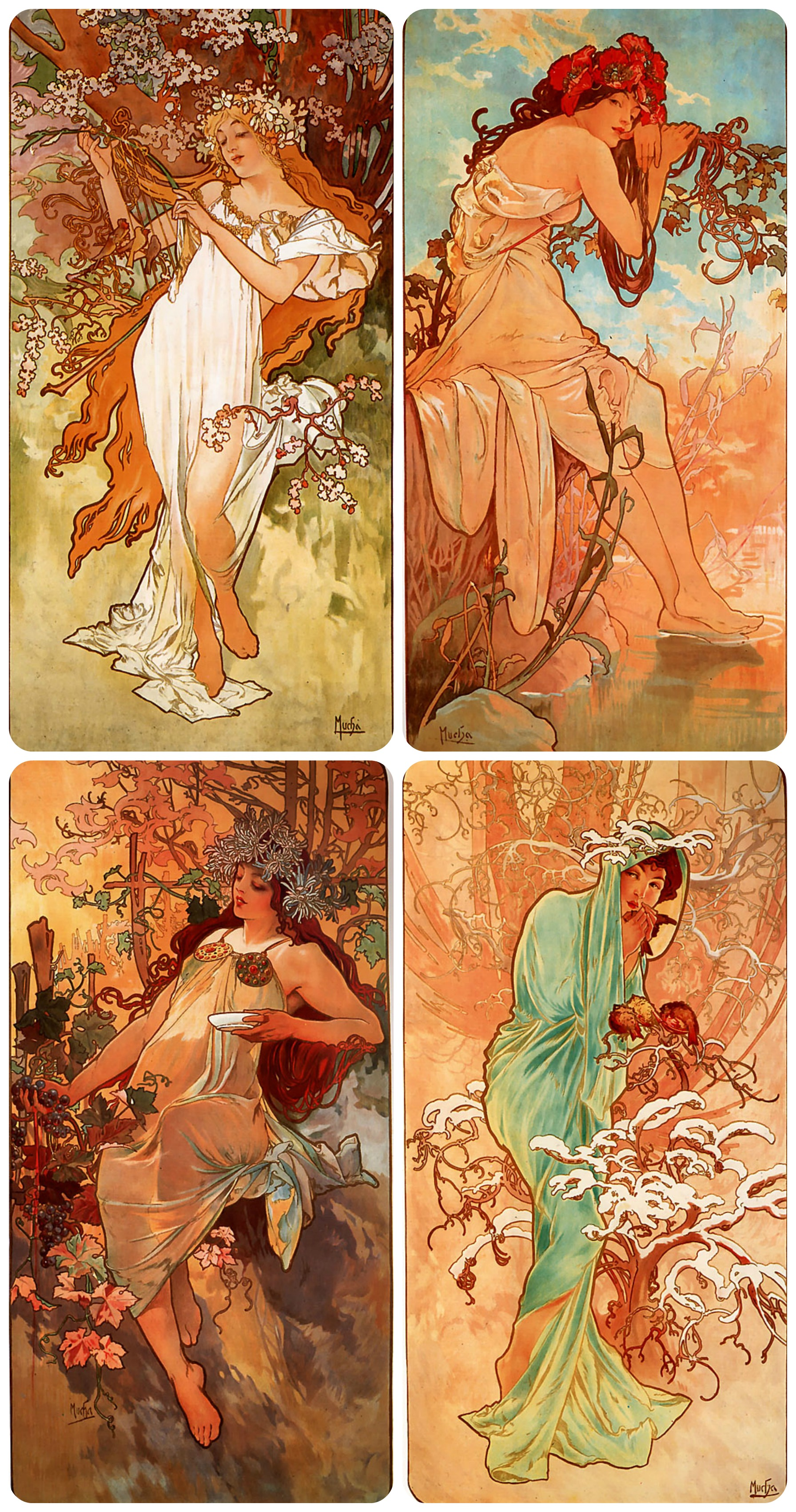 Spring, Summer, Autumn, and Winter by Alphonse much, 1896