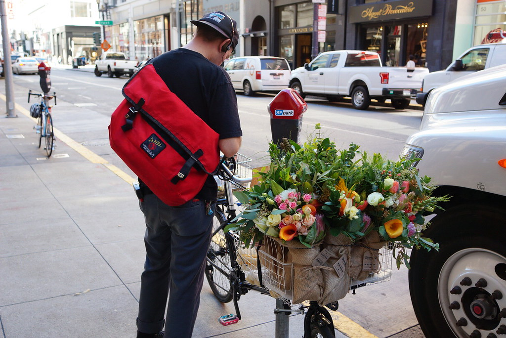 Flower delivery by bike in San Francisco
