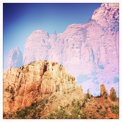 Sedona at chapel of the holy cross. #doubleexposure #hipstamatic #iphone #busybusybusyheretoday