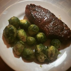 Dinner. Prime strip with brussels sprouts. #usdaprime #newyorkstrip #brusselsprouts #dinner