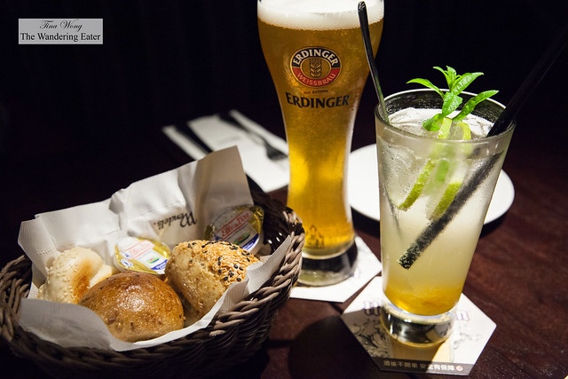 Fresh baked rolls, German Erdinger beer and Lime Soda