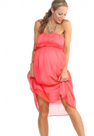 chiffon strapless maternity bridesmaid dress