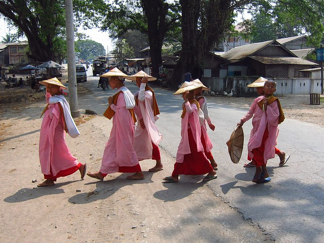 Nuns Crossing the Street in Hsipaw