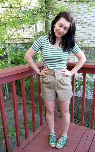 Khaki Shorts & Green Striped Renfrew