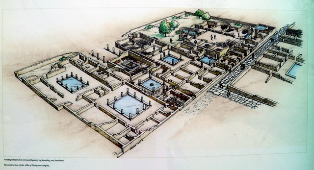 Reconstruction drawing of the Villa of Dionysos, Ancient Dion
