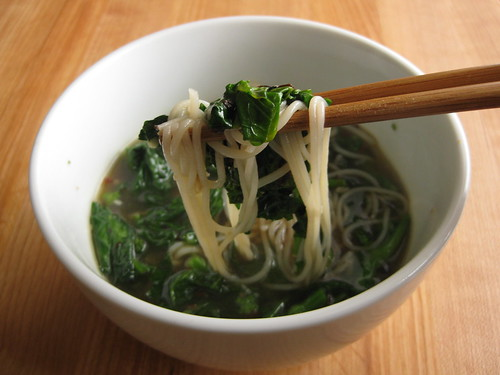 spicy broccoli rabe and noodle soup (aka clean-out-the-pantry soup) — chopsticks optional, but highly recommended
