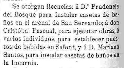 """Autorización para instalar casetas de baño y quioscos de bebidas en el Tajo (Safont, Incurnia y Arenal de San Servando). Periódico """"Zeta"""", 19 junio de 1913"""