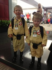 2 young ghostbusters at BPL's booth