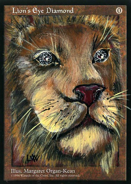 Lion's Eye Diamond mtg altered art magic the gathering laura lion eye diamond laura lion diamond card