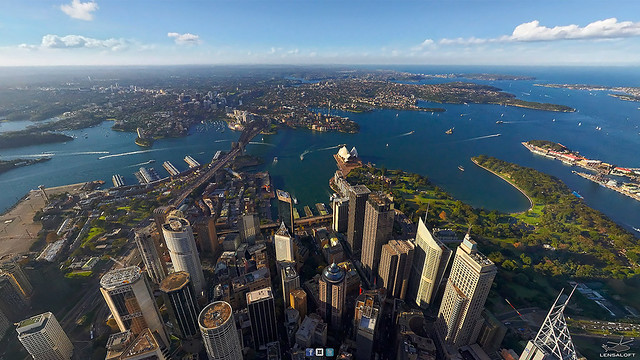 High above Sydney Harbour.