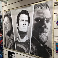 this hand drawn awesomeness is at kings comics. #manofsteel #superman #zod #jorel #ineedit
