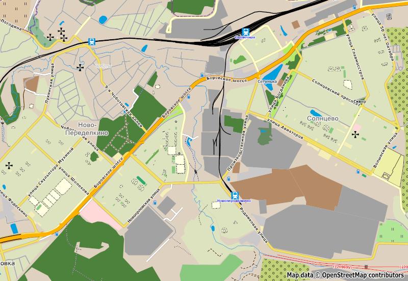 Solnechnaya - Novoperedelkino railway branch map