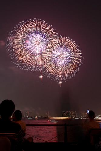 「昇曲付 八重芯 銀点滅」 by 山崎芳男 東京湾大華火 2013 Tokyo Bay Grand Fireworks