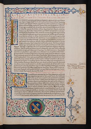 Illuminated border with coat of arms in Augustinus, Aurelius: De civitate dei