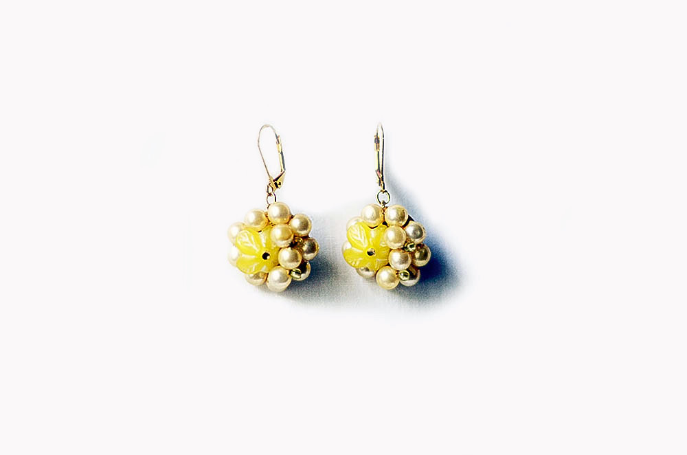 Upcycled Vintage Yellow Pearl Earrings