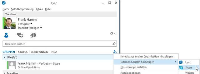 Skype-Kontakt in Lync hinzufügen
