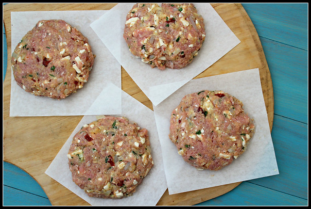 Raw turkey burgers