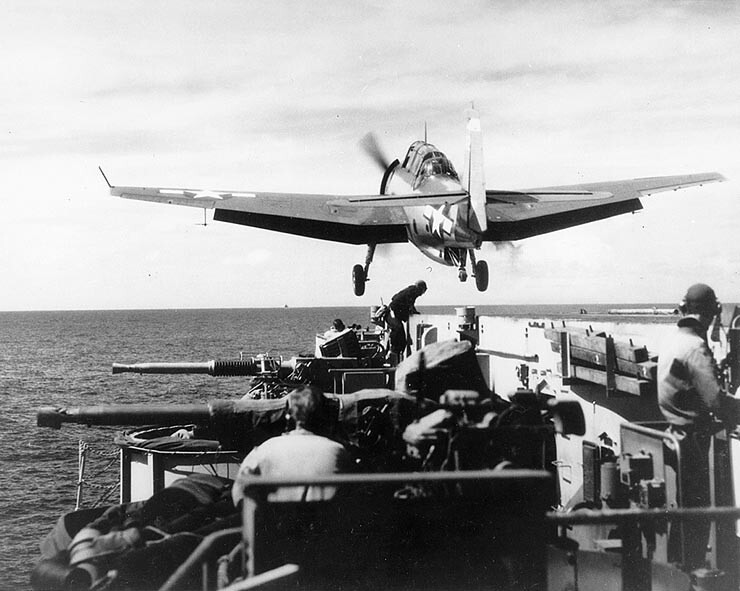 TBM-1 launches from USS Makin Island CVE-93 (1944/45)