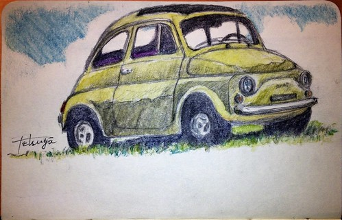 FIAT NUOVA 500D My Drawing Moleskineart Illustration デッサン狂ってるけど、勢いで^^;