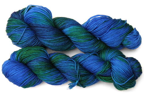 Luxury merino sock yarn in 'Neptune's lair' colourway