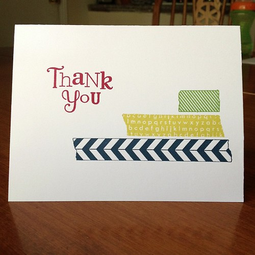 Quick thank you card for Carters swim teachers using #tapeit #stampset #stampinup #cards #thankyounote #fauxwashitape #washitape