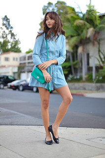 Ashley Madekwe Denim Dress Celebrity Style Women's Fashion