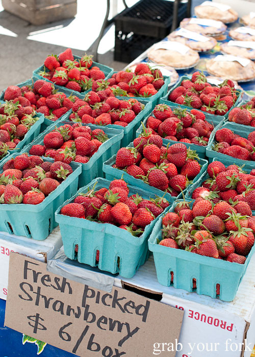 strawberry punnets at union square greenmarket farmers market nyc new york usa