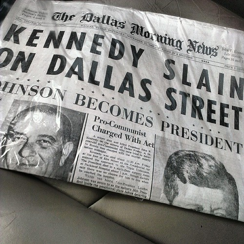 Kennedy slain on Dallas street on republished paper plastic bag on November 23, 1963. 50th anniversary. Cost $3.95 #JFK