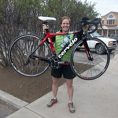 Kate B. W/ her shinny new @cervelocycles S2 #tri #cycling #aloha