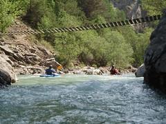 Mike & Dylan paddling under the Via Feratta bridge Image