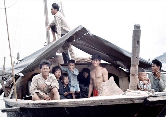 Vung Tau 1966-67 - Photo by Rick Parker - Family Aboard Fishing Boat