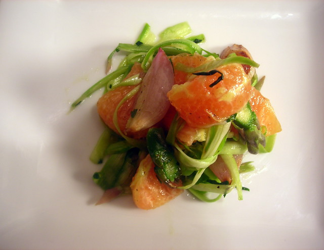 Shaved asparagus salad with Cara Cara oranges and roasted shallots