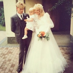 My Oma sent me this picture for my bday. It's my mom, dad and me on their wedding day. I cried.