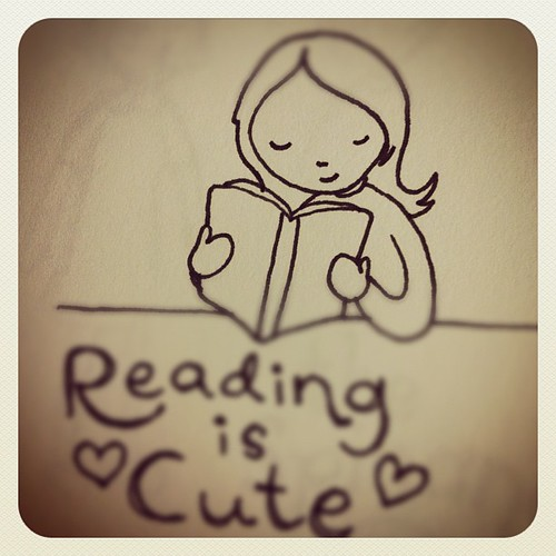 Reading is cute drawing.