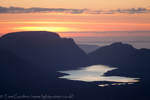 sunset mountain lake mountains water scotland spring highlands hill scottish peak hills highland summit environment loch peaks slioch munro summits achnasheen fannichs fionnbheinn