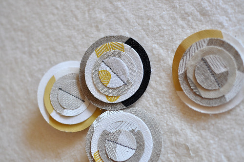 handprinted linen brooches