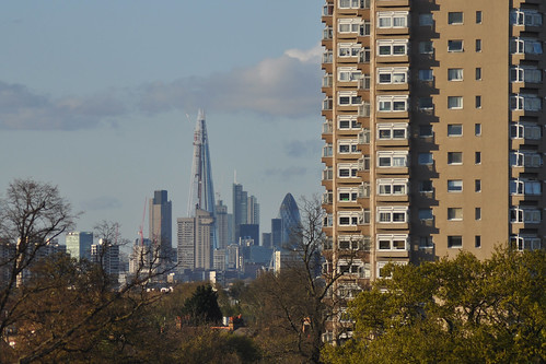 Shard and City skyline from Brockwell Park